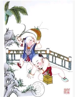 杨柳青年画-戏蝈蝈