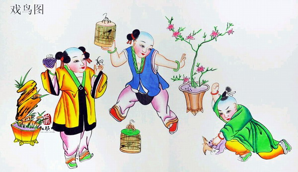 杨柳青年画-戏鸟图