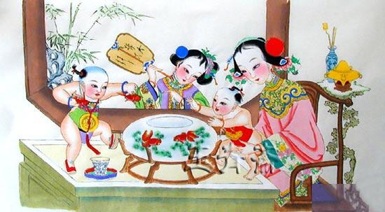 天津杨柳青年画仕女娃娃图赏析